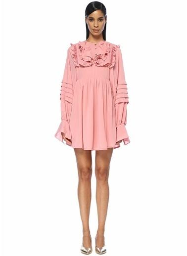 Sister Jane İnci Düğmeli Pileli Fırfırlı Mini Elbise Pembe